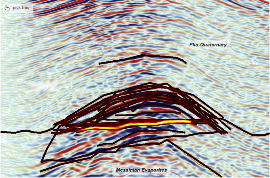 Seismic Interpretation of Hydrocarbon indicator CC-BY-SA Joshua Doubek / pickthis.io