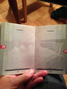 Canadian passport under normal light.