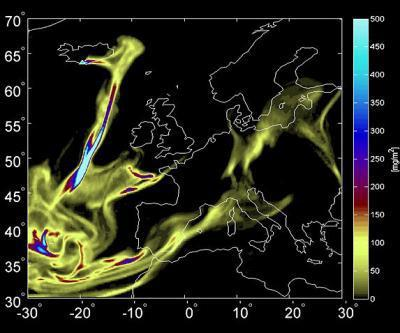 Ash plume over Europe